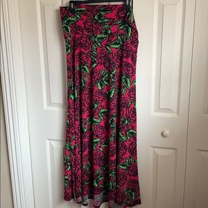 Lularoe Rose Print Maxi Skirt